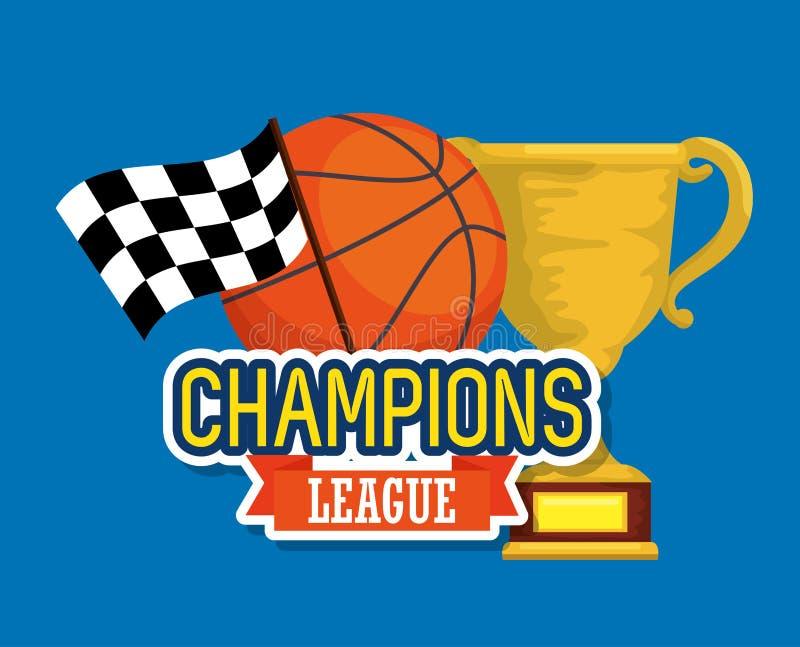 Campioni della tazza del trofeo di sport con la palla del canestro illustrazione vettoriale