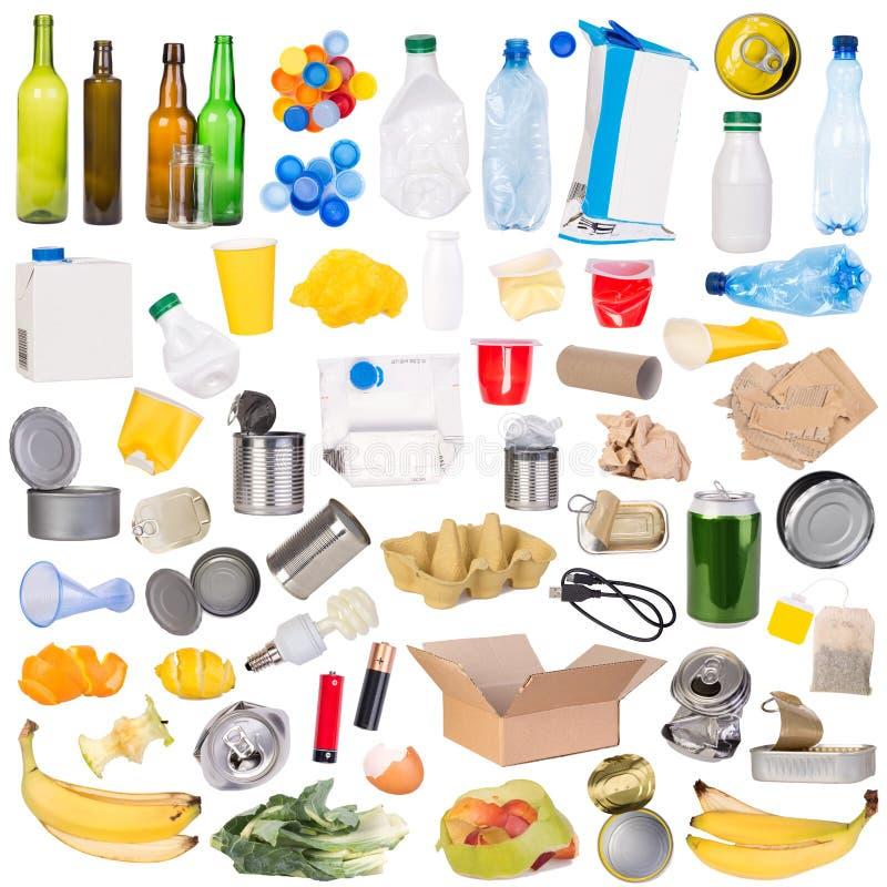 Campioni di rifiuti isolati su fondo bianco immagine stock