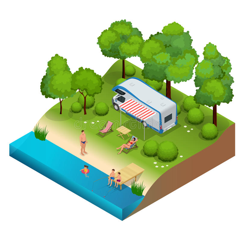 Campista de rv en acampar, viaje de las vacaciones de familia, viaje del día de fiesta en el ejemplo isométrico del vector plano  stock de ilustración