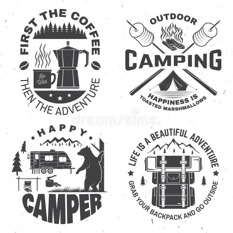 Campista feliz Vector Concepto para la camisa o el logotipo, impresión, sello Diseño del vintage con la linterna, tienda de campa stock de ilustración