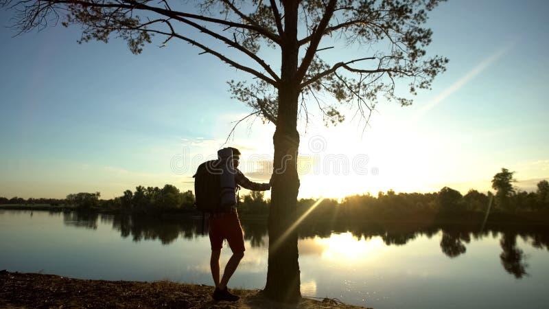 Campista que admira a vista impressionante, apreciando a paisagem, unidade com a natureza, caminhando fotos de stock