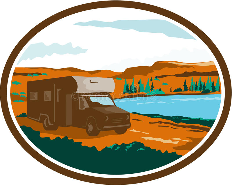 Campista Van Desert Scene Oval Retro de rv libre illustration