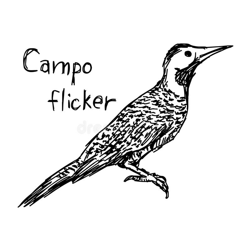 Campo τρεμούλιασμα - διανυσματικό χέρι σκίτσων απεικόνισης που σύρεται με το Μαύρο απεικόνιση αποθεμάτων