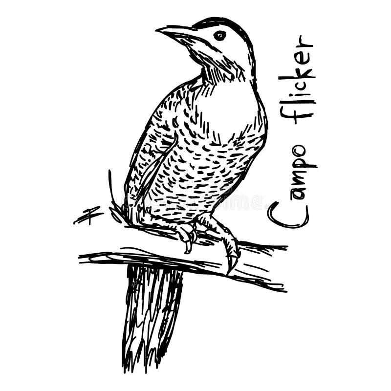 Campo τρεμούλιασμα - διανυσματικό χέρι σκίτσων απεικόνισης που σύρεται με το Μαύρο ελεύθερη απεικόνιση δικαιώματος