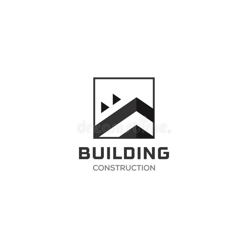 Campo abstracto Logo Design Template de Real Estate de la casa para la compa??a Silueta constructiva del vector, logotipo cuadrad libre illustration