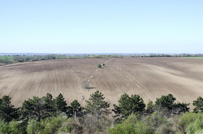 Campo agrícola arado fotos de stock royalty free
