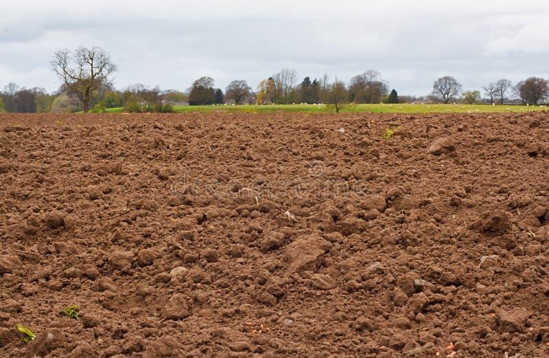 Campo agrícola recientemente cavado foto de archivo