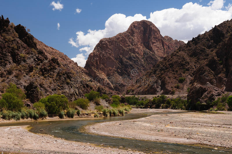Campo andino típico en Bolivia cerca de Tupiza fotografía de archivo