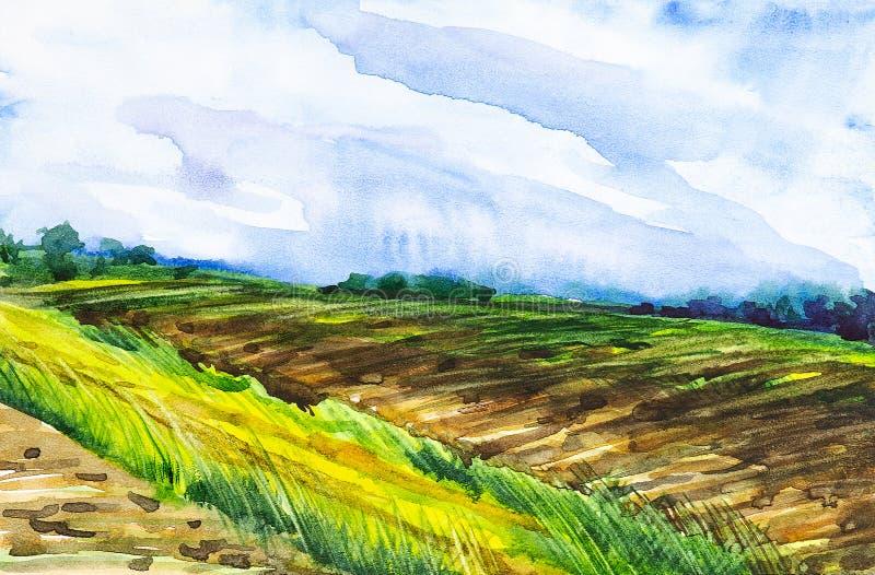Campo arado do russo com a floresta no fundo e a grama no primeiro plano Ilustração da aquarela de um lugar rural ilustração royalty free