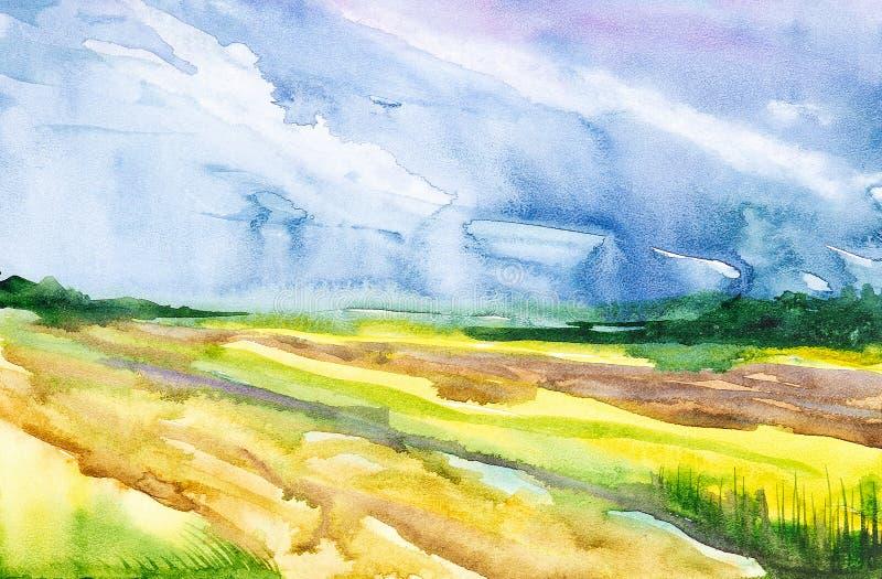 Campo arado do russo com a floresta no fundo e a grama no primeiro plano Ilustração da aquarela de um lugar rural ilustração stock