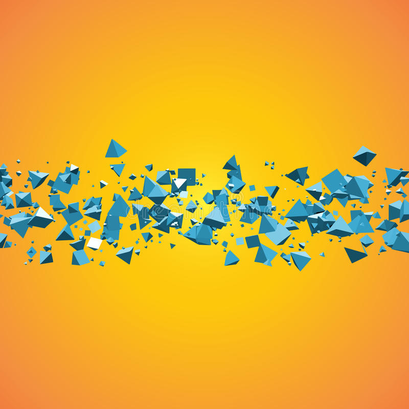 Campo azul brilhante do fundo abstrato geométrico das pirâmides do voo com copyspace do texto ilustração 3D ilustração stock