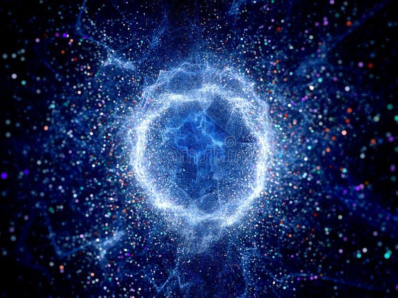 Campo azul de la alta energía de la forma del toro que brilla intensamente ilustración del vector