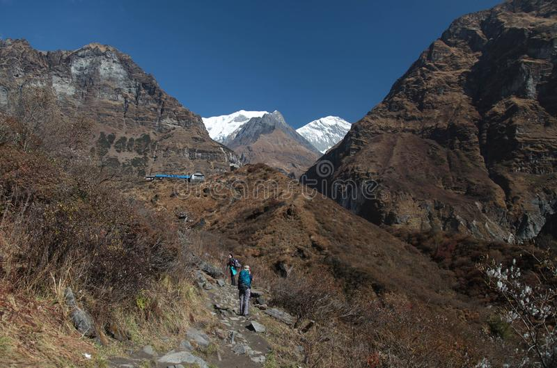 Campo básico de Annapurna nepal himalaya foto de archivo