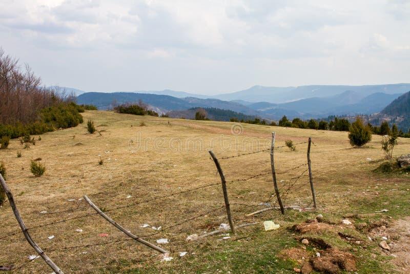 Campo bonito com as montanhas azuis da grama no fundo e nas nuvens macias acima foto de stock royalty free