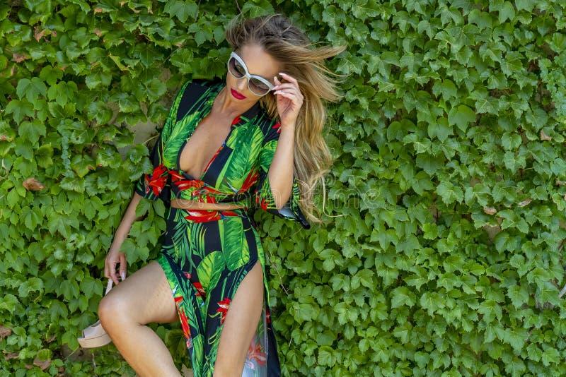 Campo brasileiro louro quente de Posing Outdoors Against A do modelo das plantas imagem de stock royalty free