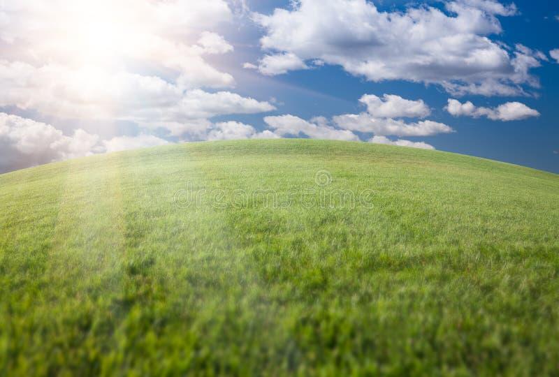 Campo, cielo blu e Sun di erba verde immagine stock libera da diritti