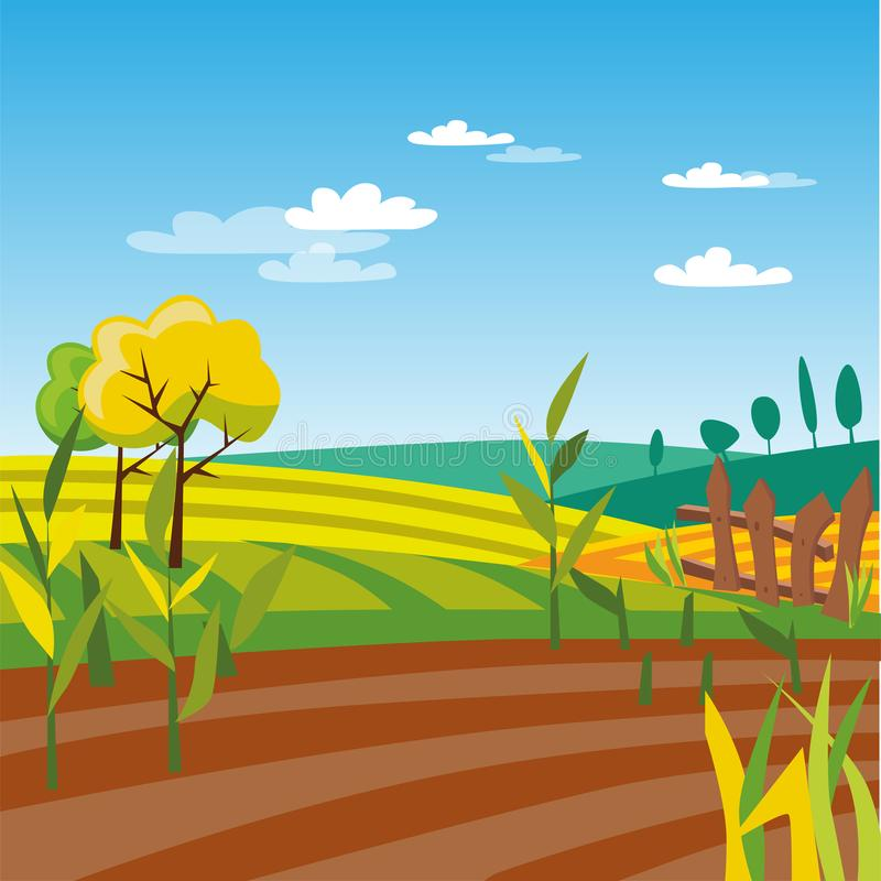 Campo coltivato di agricoltura, illustrazione rurale di vettore del paesaggio illustrazione di stock