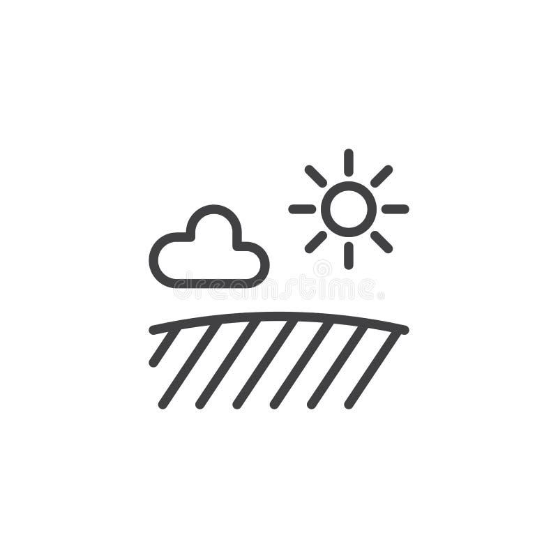Campo com linha ícone da nuvem do sol ilustração royalty free