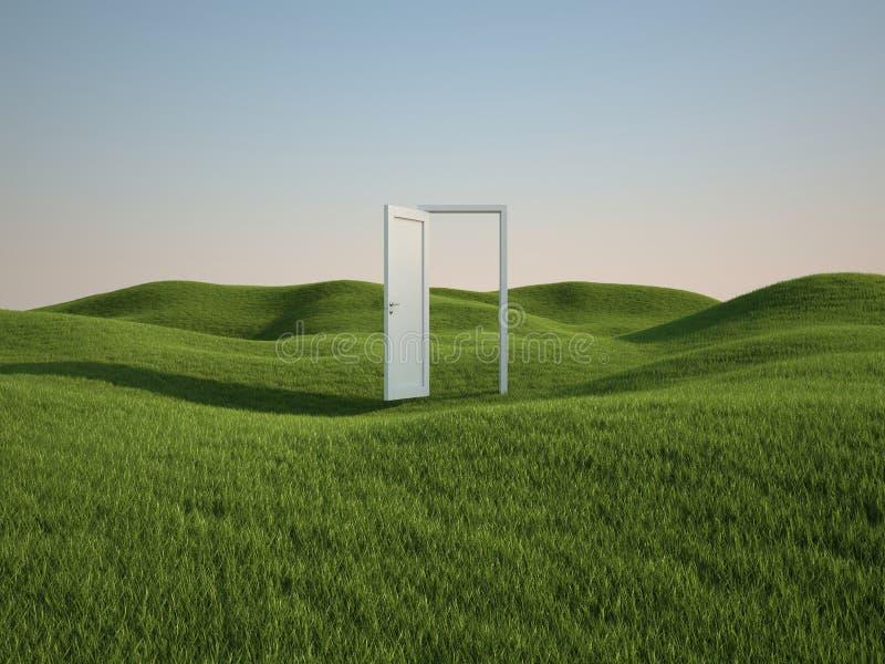 Campo con la puerta ilustración del vector