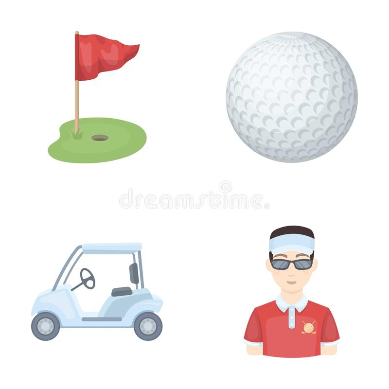 Campo con un foro e una bandiera, una palla da golf, un giocatore di golf, un carretto di golf elettrico Icone stabilite della ra illustrazione di stock