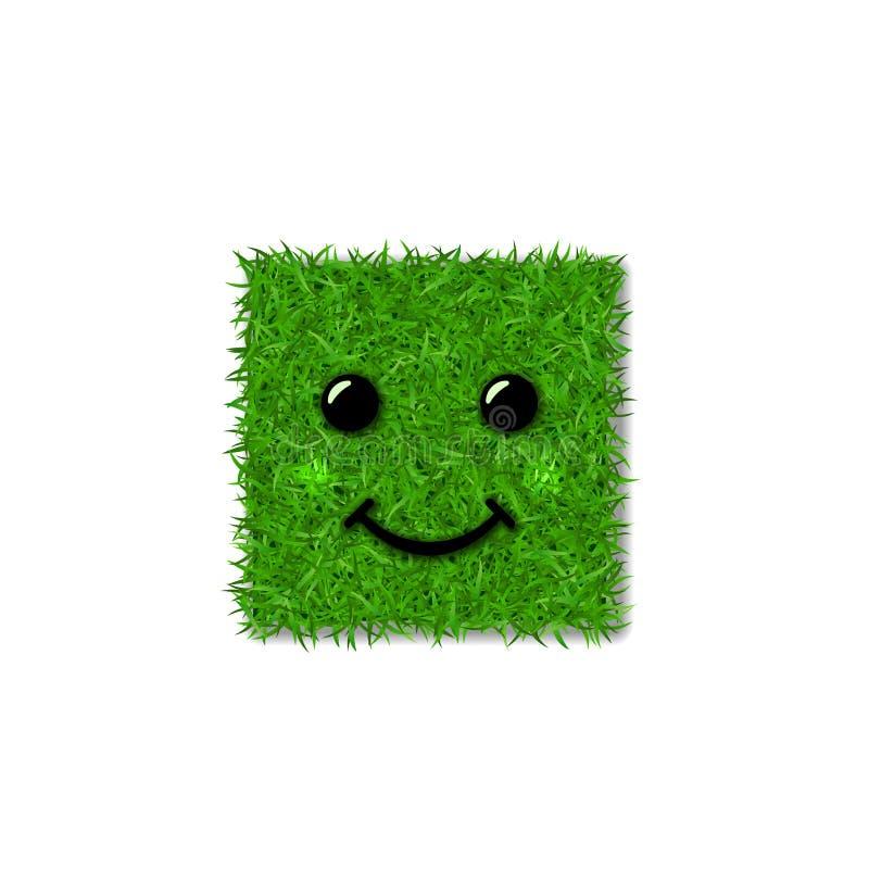 Campo 3D del quadrato dell'erba verde Sorriso del fronte Icona erbosa sorridente, fondo bianco isolato Concetto di ecologia Segno royalty illustrazione gratis