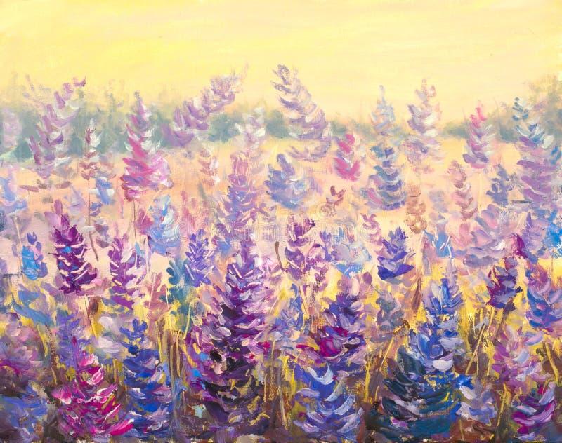 Campo da alfazema delicada das flores flores Azul-roxas na arte finala da pintura do verão fotografia de stock royalty free