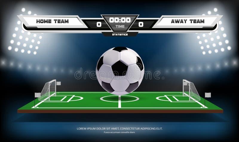 Campo da gioco di calcio o di calcio con gli elementi e la palla infographic 3d Metta in mostra il gioco Riflettore dello stadio  illustrazione di stock