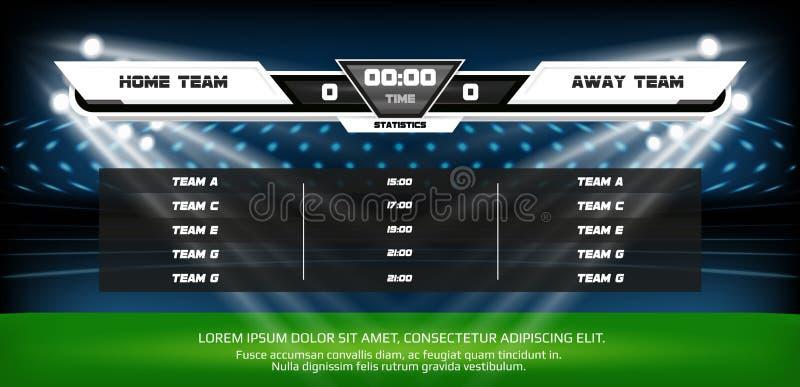 Campo da gioco di calcio o di calcio con l'insieme degli elementi infographic Metta in mostra il gioco Riflettore e tabellone seg illustrazione di stock