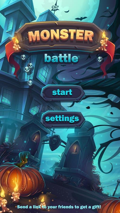 Campo da gioco di inizio del GUI di battaglia del mostro illustrazione di stock