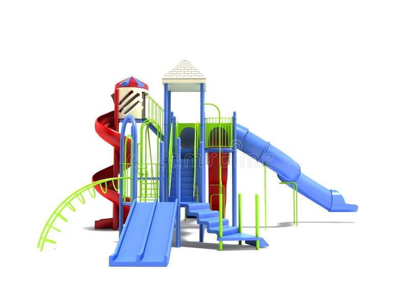Campo da giuoco blu per i bambini con le scale con lo scorrevole diritto 3d dello scorrevole a spirale rosso rendere su fondo bia illustrazione vettoriale
