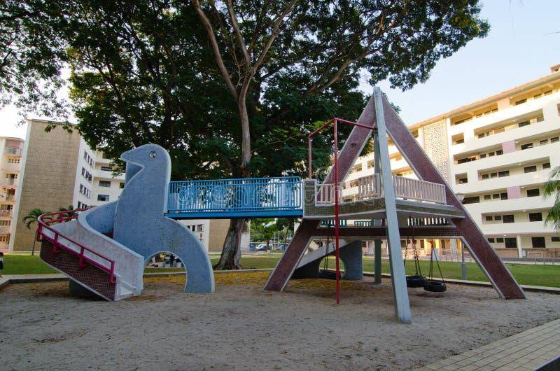 Campo da giuoco d'annata, Dakota Crescent Singapore immagine stock