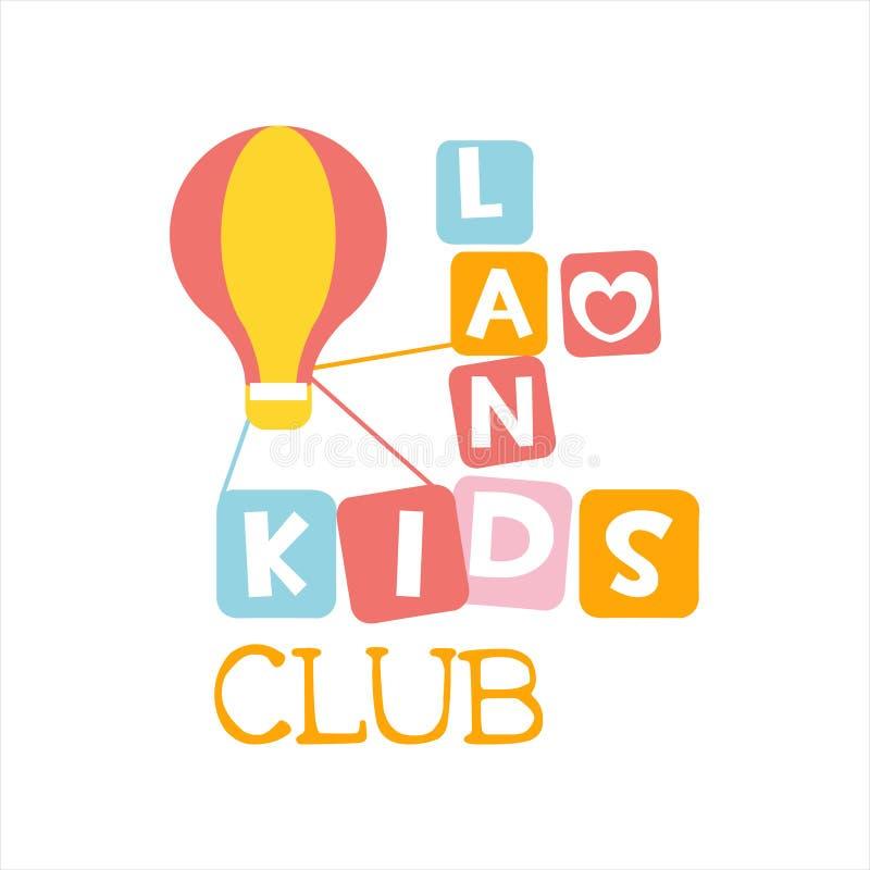 Campo da giuoco della terra dei bambini e segno variopinto di promo del club di spettacolo con Toy Hot Air Baloon For lo spazio d royalty illustrazione gratis