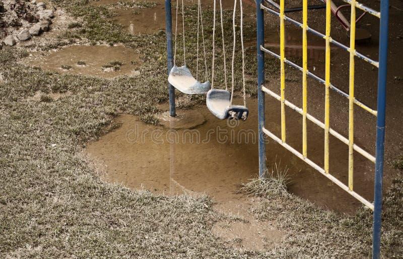 Campo da giuoco dopo l'inondazione fotografia stock libera da diritti