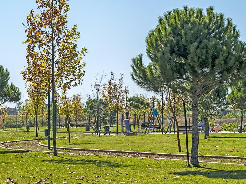 Campo da giuoco su un villaggio sull'autunno immagine stock