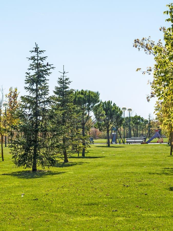 Campo da giuoco su un villaggio sull'autunno fotografie stock libere da diritti