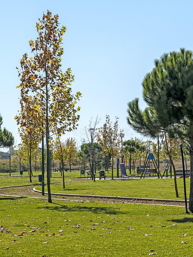 Campo da giuoco su un villaggio sull'autunno immagini stock