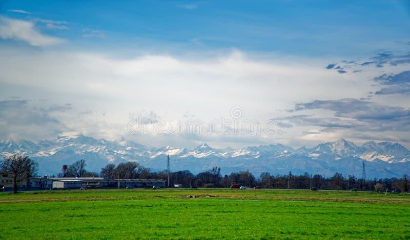 Campo da grama fresca verde sob o feixe do céu azul e do sol imagem de stock