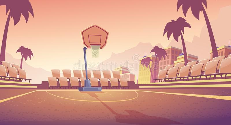 Campo da pallacanestro della via, vettore all'aperto dello stadio illustrazione vettoriale