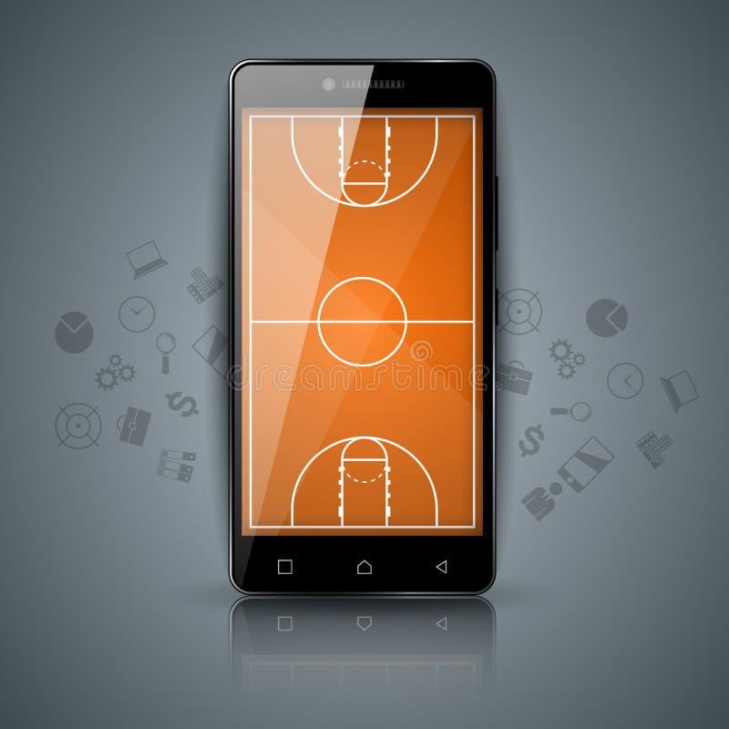Campo da pallacanestro, sport, icona dello smartphone illustrazione vettoriale