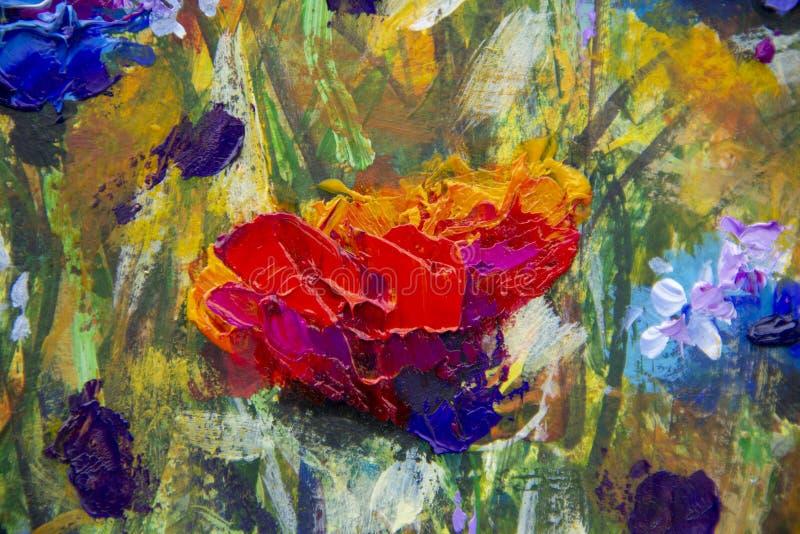 Campo da pintura a óleo moderna do impressionismo das flores - flores azuis das papoilas vermelhas das flores da ilustração do cl ilustração stock
