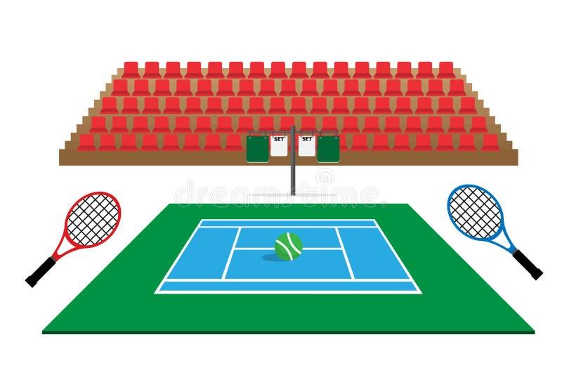 Campo da tennis con i sedili ed il tabellone segnapunti dello stadio royalty illustrazione gratis