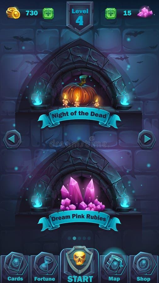 Campo de ação do GUI da batalha do monstro ilustração royalty free
