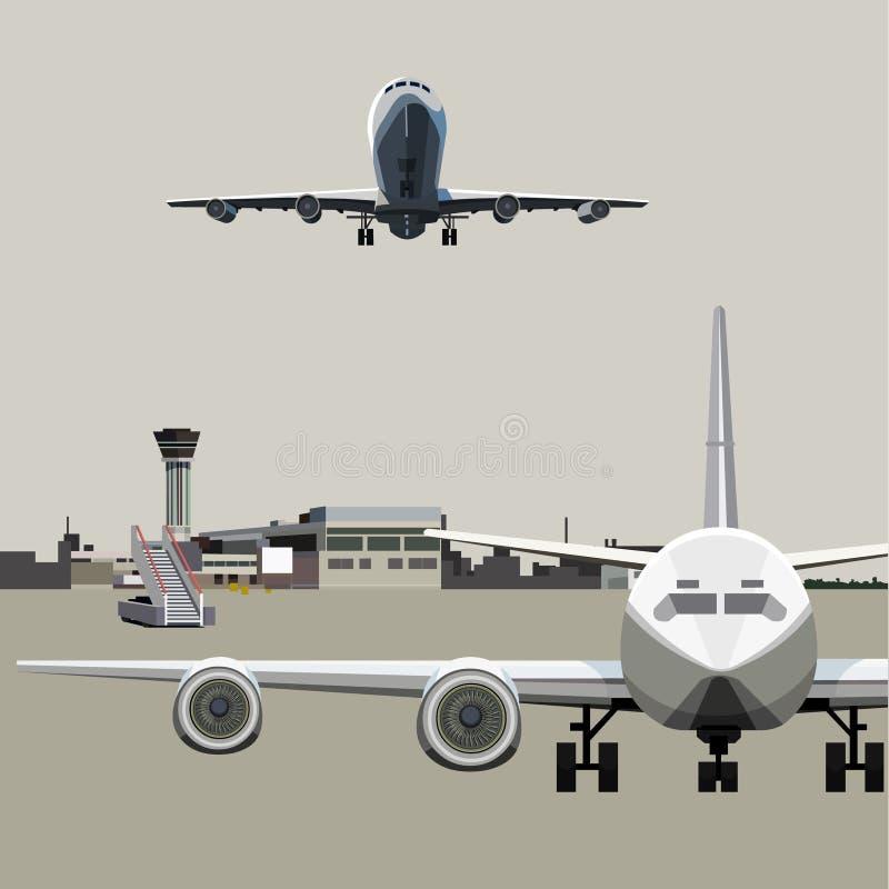 Campo de aviación con los aviones stock de ilustración