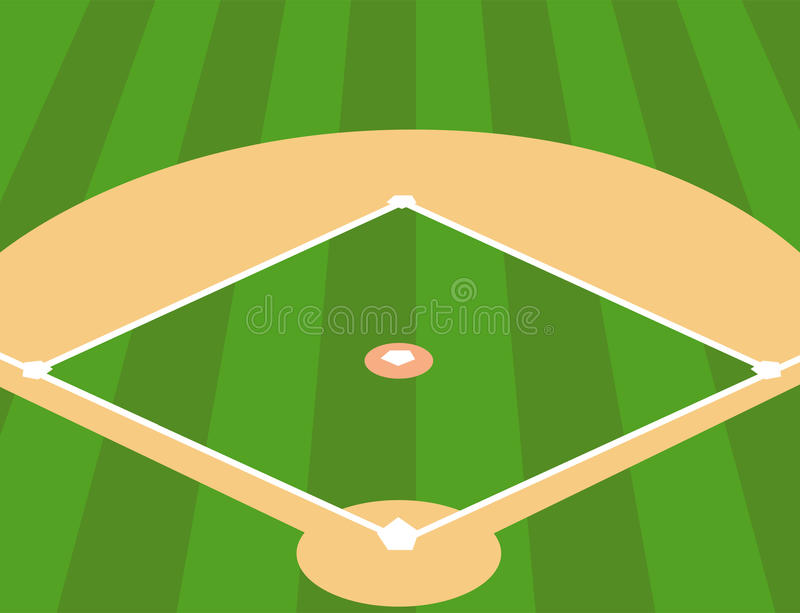 Campo de béisbol como fondo ilustración del vector