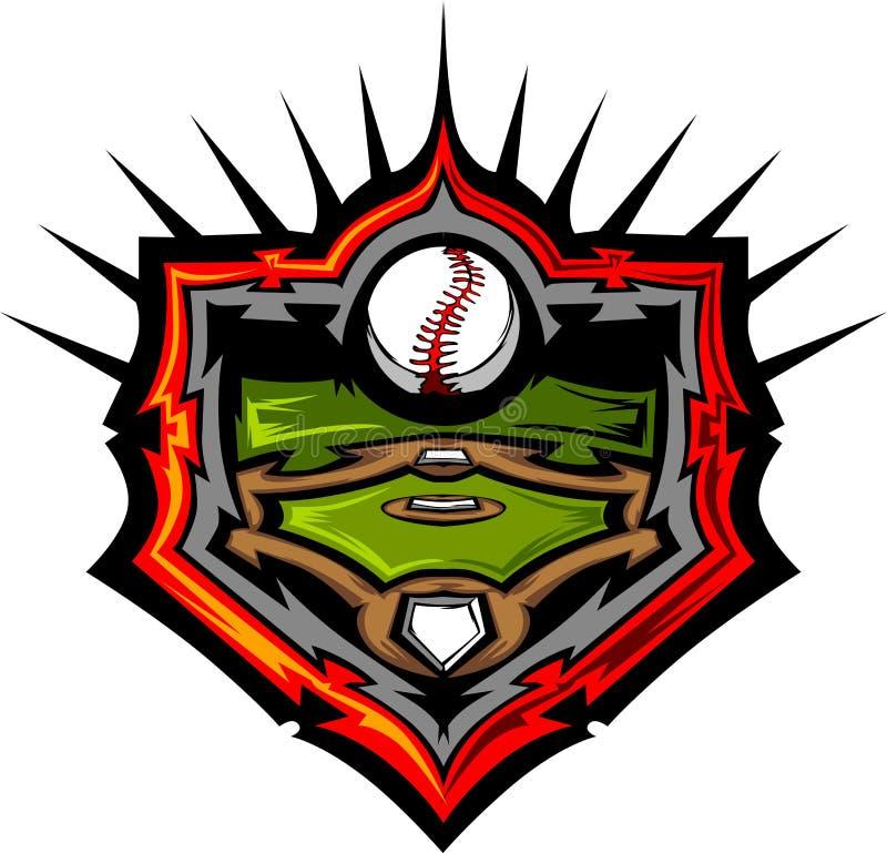 Campo de béisbol con el modelo de la imagen del béisbol stock de ilustración