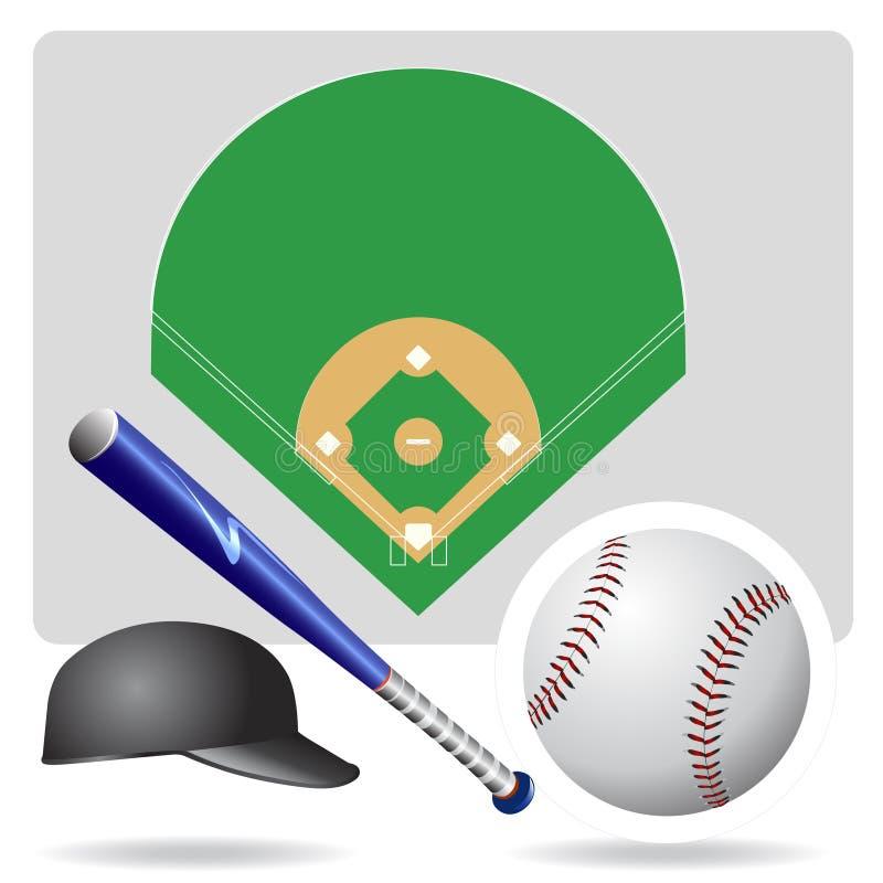 Campo de béisbol y objeto stock de ilustración