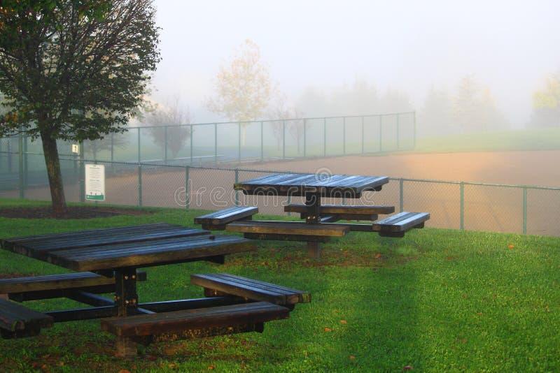 Campo de basebol das tabelas de piquenique imagens de stock