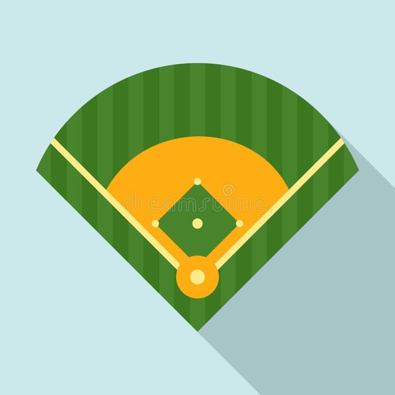 Campo de basebol sobre, estilo liso ilustração stock