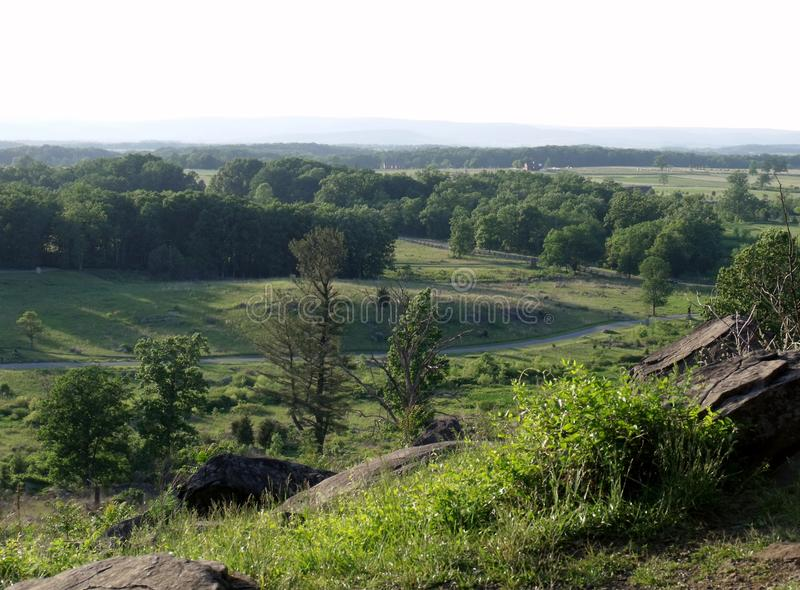 Campo de batalha de Gettysburg de pouca parte superior redonda imagem de stock