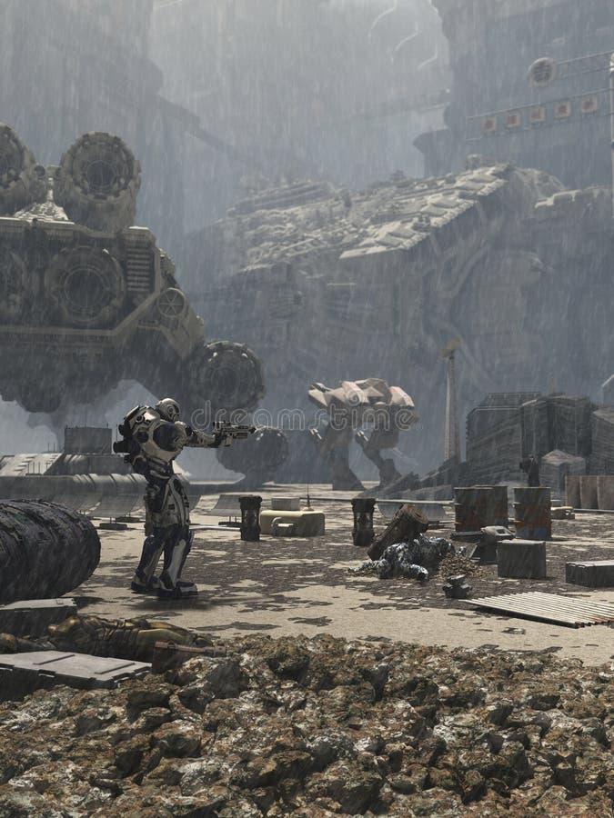 Campo de batalla futuro de la ciudad stock de ilustración